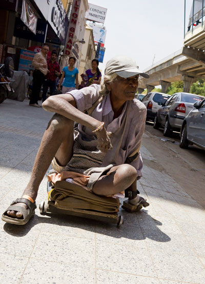 Disabled Indian man in Bangalore, India